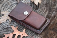 Canadian custom leather folding knife pouch