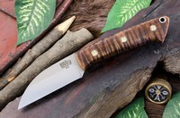 Barkriver Knives A2 TUSK Dark Curly Maple with Mosaic pins