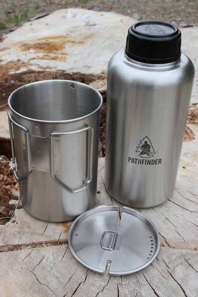 Pathfinder 64oz Stainless Steel Water Bottle And Cup Set Bushcraft Canada