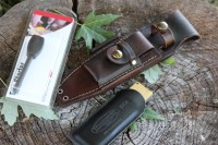 Canadian Bushcraft Leather Custom A1 sheath with DC4 and Firesteel Photo